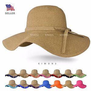 Floppy Hat Brim with Ribbon Women Folding Summer Beach Sun Straw ... 9de4bb07373