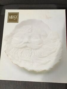 NIB-Mikasa-Holiday-Elegance-Porcelain-Santa-Cookie-Plate-11x10-034-Ivory-Gold-Trim