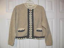Sage Creek by Liz Ence Beige/Cream Specs of Black Multi Color Zip Up Sweater MED