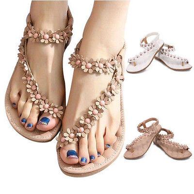 Summer Women Bohemia Floral Flat Shoes Beach Sandal Thong Slippers Flip Flop IGN