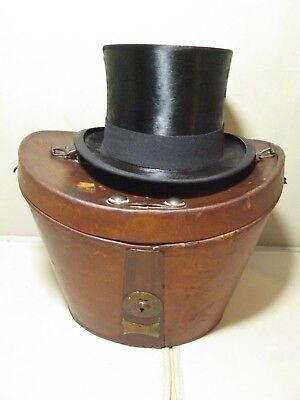 Cooperativa Antico Vintage In Pelle Top Hat Caso Ascot-mostra Il Titolo Originale Corrispondenza A Colori