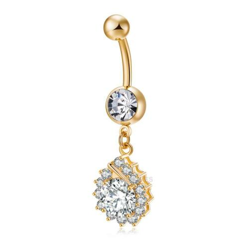 2017 Diamant Zircon Acier Chirurgical Piercing Navel Ring Belly Button Barbell