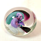Studio Art Glass Colorful Flower Paperweight, Signed by Artist, 2
