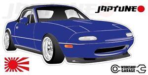 Mazda-Miata-MX5-Style-Sticker-Blue-with-Enkei-Style-Rims-JapTune-Brand