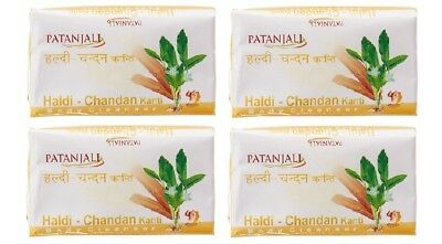 Relieving Heat And Sunstroke pack Of 4 Humor Patanjali Kanti Haldichandan Body Cleanser Soap 75g