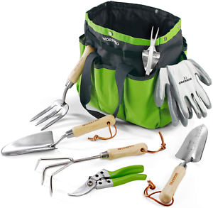Garden Tools Set Stainless Steel Heavy Duty Wooden Handle Weeder Tote Gloves 7Pc