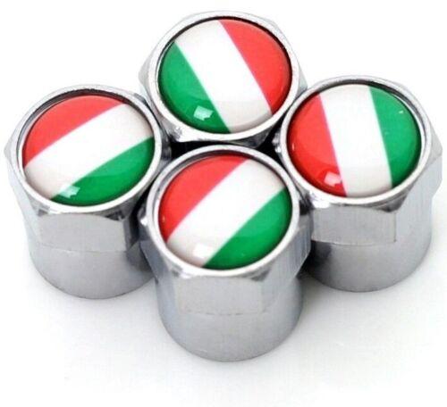 Dust Caps x4 Italian Flag Logo Chrome Tyre Valve Badge Fiat 500 Alfa Romeo Vespa