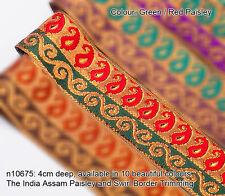 Neotrim Sari Paisley Ribbon Antique Gold Metallic 4cm Wide,Home Decoration Craft