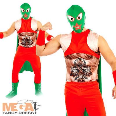 Mexican Wrestler Mens Fancy Dress WWF Sports Fun National Dress Adults Costume