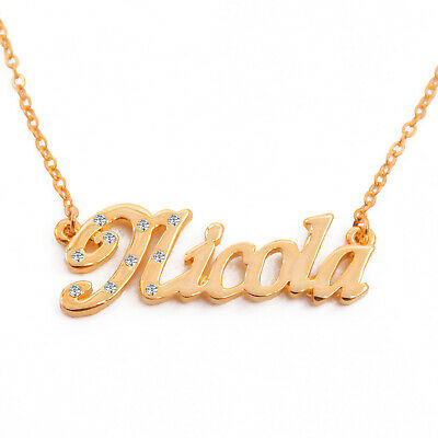 Engagement Custom White Gold Plated Name Necklace NICOLA Gift Idea For Her