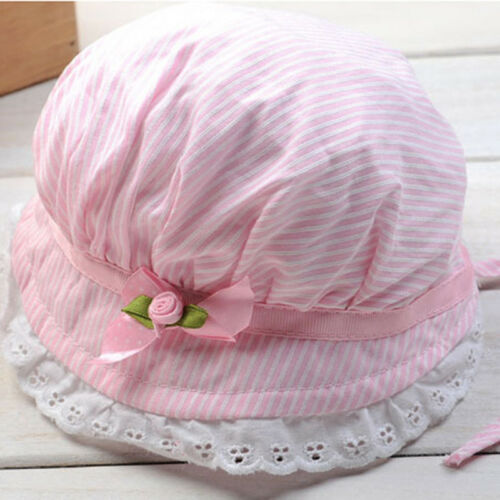 Baby Girl Lace Brim Sun Protection Beach Stripe Rose Hat Gift Toddler Shan