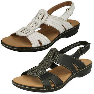 Donna Clarks Leisa VINO NERO O BIANCO casual sandali di cuoio Vestibilit D