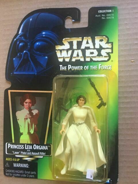 Star Wars Year 1995 The Power of the Force 4 Inch Tall Action Figure Princess LEIA ORGANA with Laser Pistol and Assault Rifle
