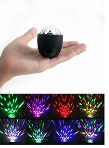 MINI-PROIETTORE-LUCI-LED-RGB-LAMPADINA-DISCO-BALL-USB-SFERA-ROTANTE-MULTICOLORE