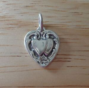 1-Sterling-Silver-3D-15x13mm-slightly-puffy-Detailed-Double-Wedding-Heart-Charm