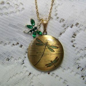INSECT DRAGONFLY LOCKET GREEN DRAGONFLY ANTIQUE BRONZE CRYSTAL CHARM