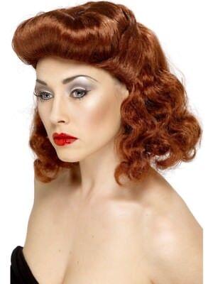 Auburn Fancy Dress 1940s Smiffys Wartime Ladies Curls WW2 Pin Up Girl Wig
