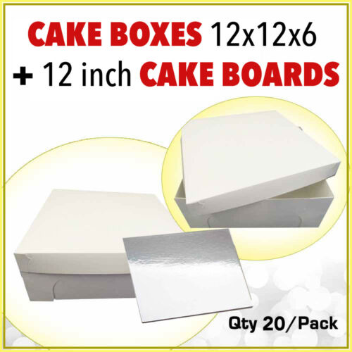 Cake Boxes 12 x 12 x 6 20 Pc + 20 Pc Boards 12 Inch Sq SilverSydney Metro Only