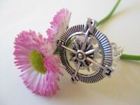 Usa Seller Vintage Steampunk Nautical Compass Silver Adjustable Filigree Ring