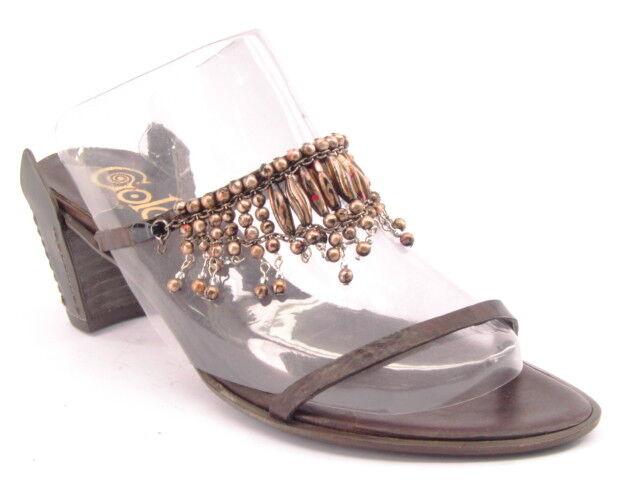 New GOLO  Women Brn Leather Open Toe Heel Embellish Slide shoes Size 7 M