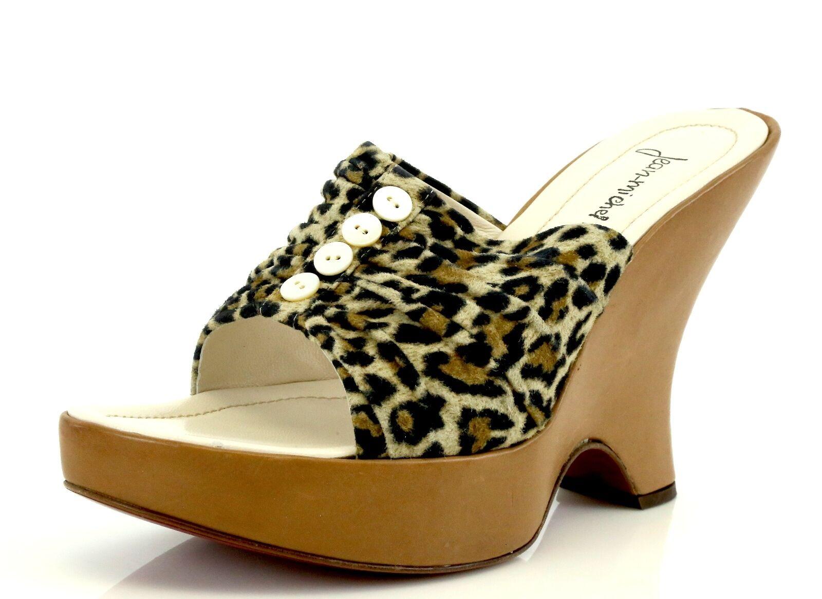 Jean-michel Cazabet Cheetah Print Wedge Mule Sandals 7380 Size 39 EU NEW!