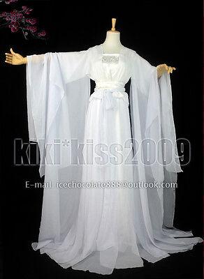 China Tan Dynasty Fairy Girl's White Chiffon HanFu Cosplay Special Offer Dress