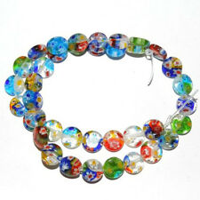 Hot 50Pcs Mixed Flat Glass Millefiori Loose Spacer Beads Jewelry Making 6MM DIY