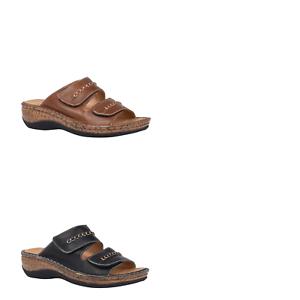 Womens-Natural-Comfort-Emery-Bark-Black-Slides-Sandals-Slide-On-Casual-Shoes