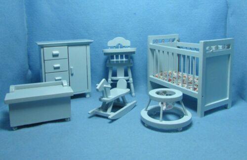 Dresser Dollhouse Miniature Nursery Set in Blue with 6 Pieces Crib High chair