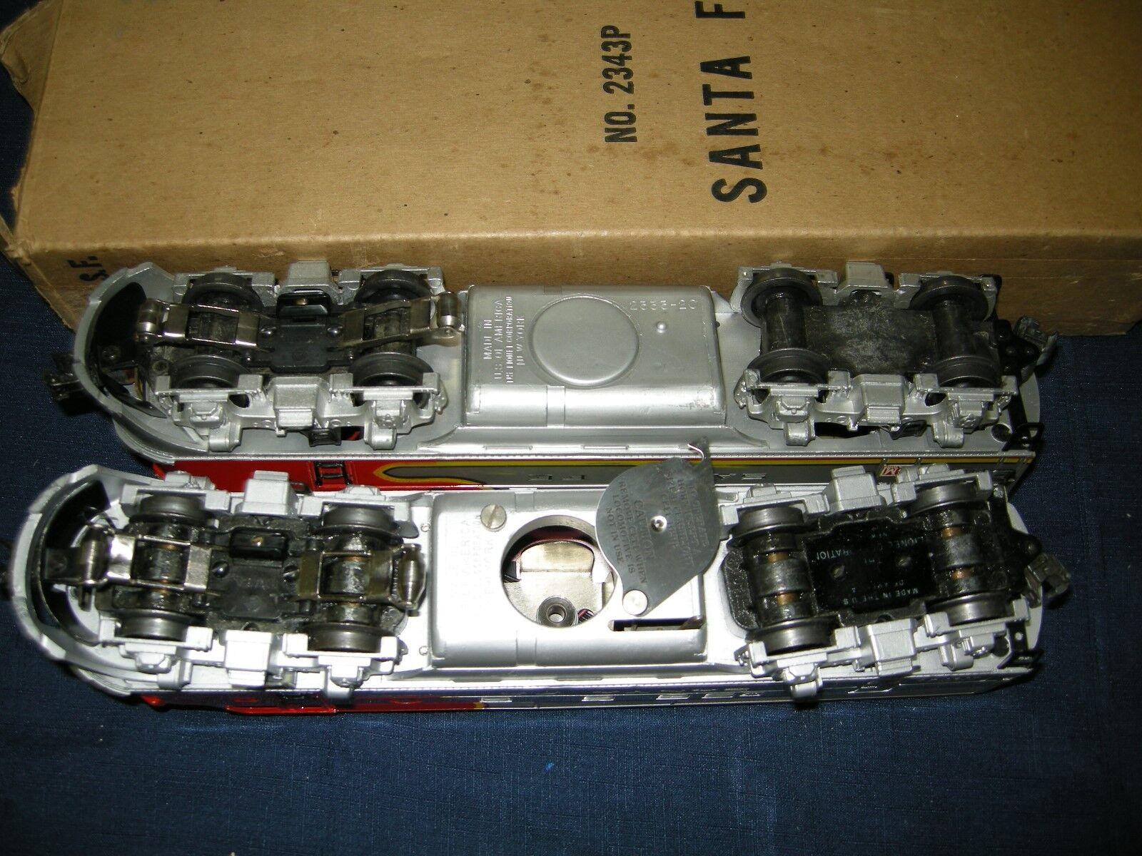 LIONEL 2343 SANTA FE F3 F3 F3 AA E+ C7+ IN OB'S W SCARCE YELLOW MOLDED PLASTIC CABS de4c8f