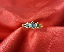 ladies 10k yellow gold 3 stone marquise sapphire round diamond ring size 6 3/4