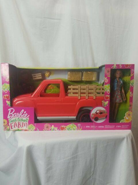 Barbie Kids Sweet Orchard Farm Doll & Pickup Truck with Accessories Playset New