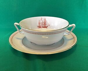 Spode TRADE WINDS RED Gold Footed Cream Soup Bowl & Saucer Set | eBay