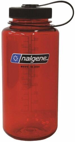 32 Onces Rouge Avec Noir Cap Nalgene Tritan Wide Mouth BISPHENOL A-Free Bouteille D/'eau