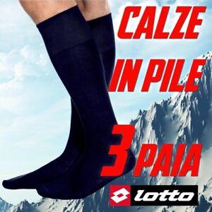 CALZE-LUNGHE-DA-UOMO-LOTTO-IN-CALDO-PILE-3-PAIA-INVERNALI-CALDE-TERMICHE