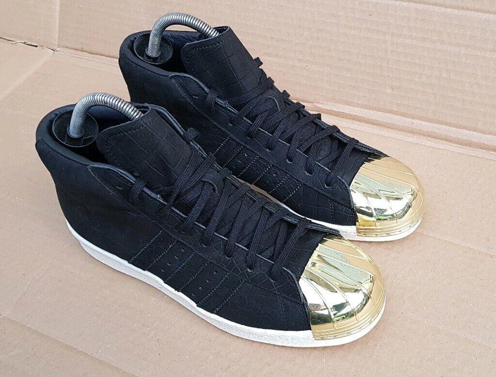 NUOVE Trainer Adidas Superstar Promodel Neri in Pelle Scamosciata Serpente Punta in metallo misura 7 Regno Unito