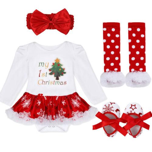 Girls Infant Baby Christmas Outfits Romper Tutu Skirts+Headband Kid Costume 4PCS