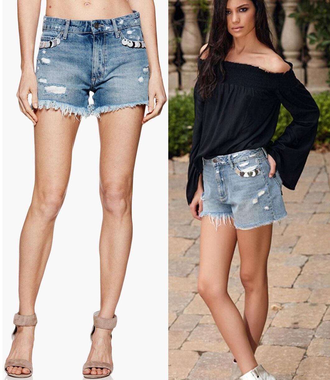 179 Paige Babes Embellished Road Trip High Rise Cut Off Denim Shorts 32