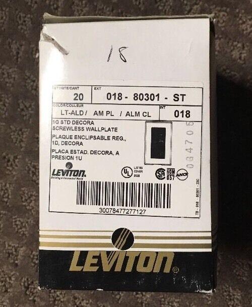 LEV80301ST Leviton 80301-ST Single Decora Plus Wallplate Screwless SnapOn Lt Alm