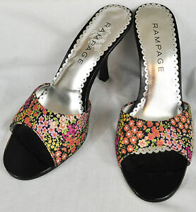 women-039-s-Rampage-black-floral-heels-dressy-size-9-5-medium-open-heel-toe-cushione