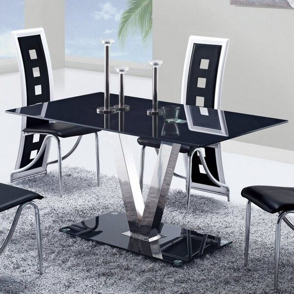 Global Furniture Usa 551dt Black Glass Dining Table W Stainless Steel Legs