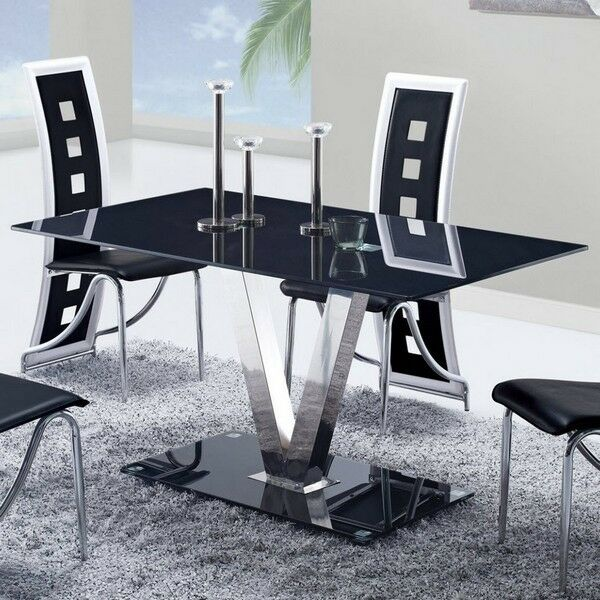 Global Furniture USA 551dt Black Glass Dining Table W/ Stainless Steel Legs