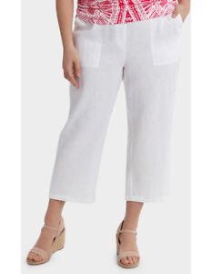 NEW-Yarra-Trail-Woman-Washer-Linen-Cropped-Pant-White