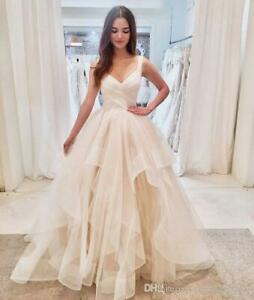 2020 V Neck Ball Gowns Wedding Dress Ruffles White Ivory Princess