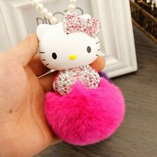 New Crystal Cute KT Cat Pearl Chain Car Hanging Pendant Ornament Car Accessories