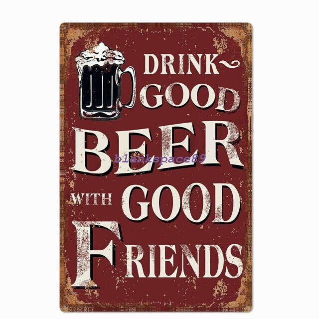 Metal Tin Sign stay safe drink beer humor style Bar Pub Vintage Retro Poster