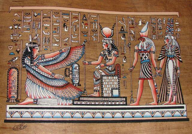 Egyptian Hand-painted Dark Papyrus: Hathor & Winged Maat with Horus & Nefertari