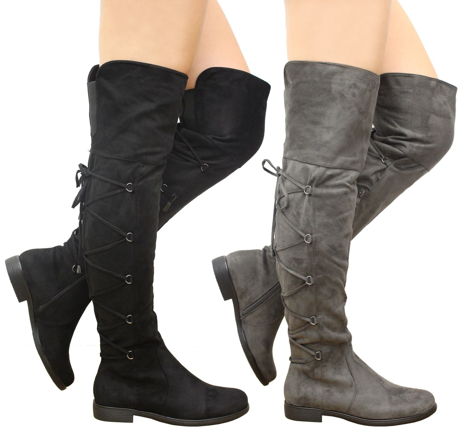 Ladies Womens Thigh High Over The Knee Boots Lace Up Gusset Low Heels Shoes Size
