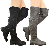 Ladies Womens Over The Knee Thigh High Lace Up Gusset Low Heels Boots Shoes Size
