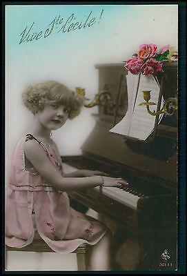 Pretty Deco Child Girl Piano Music Fantasy original vintage old 1920 postcard 11